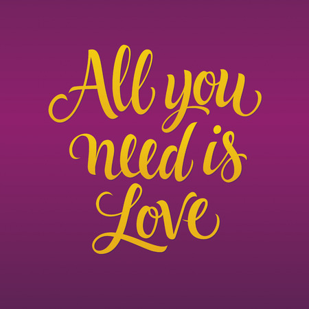 italics: All you need is love inscription in italics, isolated on purple background with gradient