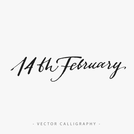fourteenth: Fourteenth of February monochrome vector calligraphy, on white background