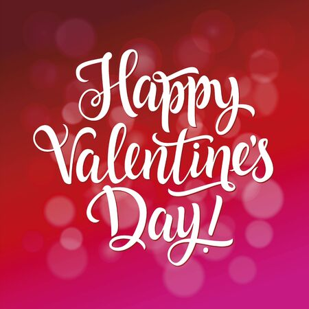 italics: White Happy Valentines Day inscription on blur red and pink background with spots