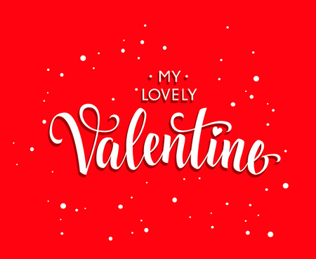 italics: My Lovely Valentine inscription in italics, isolated on bright red background with texture