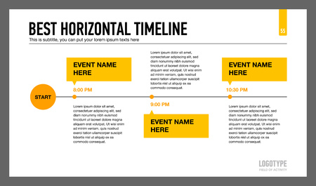 Editable template of horizontal timeline with time points, titles and sample texts Stock Illustratie
