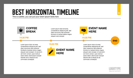 subtitle: Editable infographic template of horizontal timeline with icons, time points and sample text Illustration