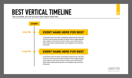 best presentation: Editable presentation slide template representing best vertical timeline chart with sample text