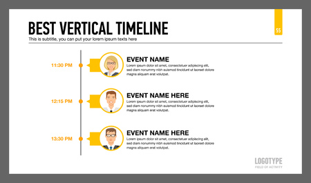 subtitle: Editable infographic template of vertical timeline with male and female characters portraits