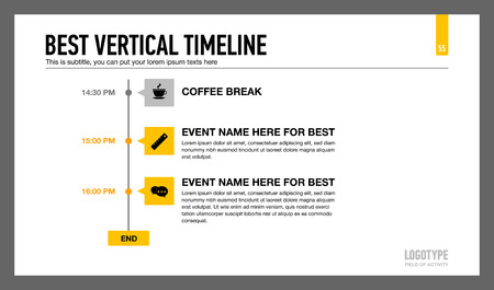 subtitle: Editable infographic template of vertical timeline with icons, time points and sample text