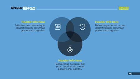 Edytowalny szablon slajdów prezentacji z okrągłym diagramem z trzema okręgami, nagłówkami i przykładowym tekstem Ilustracje wektorowe