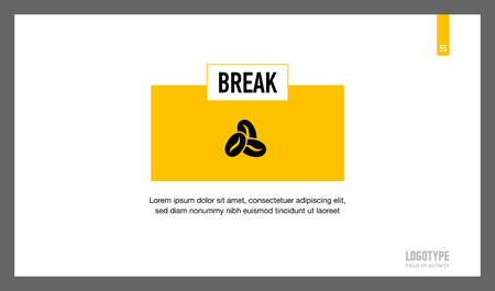 break in: Editable presentation page with information about break in white and yellow colors