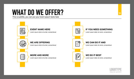 six point: Editable presentation slide template representing company services with icons, description and sample text