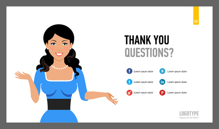 contact details: Editable template of contact information presentation page with female character portrait and social network sites emblems Illustration