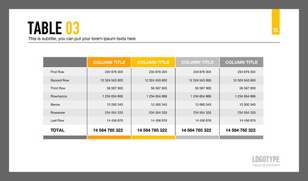 5 つの列を持つテーブルを表すプレゼンテーション スライドの編集可能なテンプレート