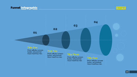 horizontal line: Editable template of presentation slide representing four step funnel infographic