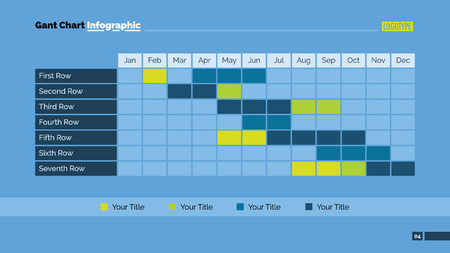 Editable presentation page template of Gant chart with twelve columns and seven rows showing monthly dynamics