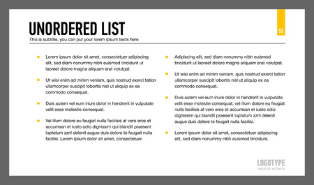 representing: Editable template of presentation page representing unordered list with sample text