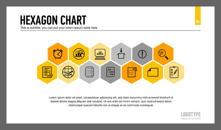 thirteen: Editable template of presentation slide representing hexagon chart with thirteen hexagons, multicolored version