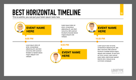 subtitle: Editable infographic template of horizontal timeline with male and female characters portraits Illustration