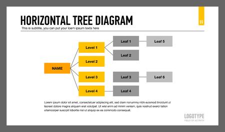 diagrama de arbol: infografía plantilla editable de diagrama de árbol horizontal, amarillo y gris versión