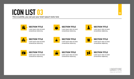 sections: Editable template of presentation slide representing nine sections with titles, icons and sample text