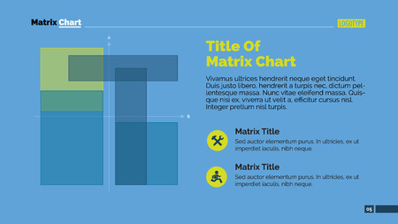 representing: Editable template of presentation page representing matrix chart with title and sample text, multicolored version