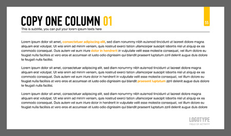 arranged: Editable template of presentation slide representing sample text arranged in one column Illustration