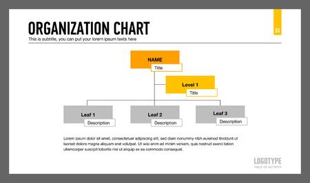organization: Editable template of presentation slide representing organization chart with three levels of blocks Illustration