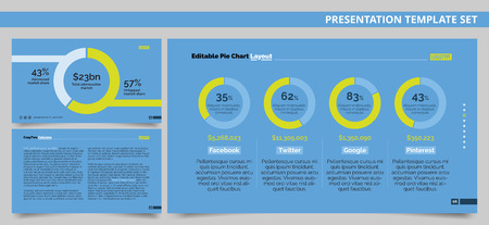 arrangement: Editable presentation template set representing company market shares in form of pie charts and sample text arrangement page Illustration