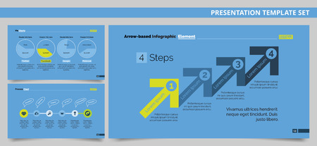 Editable presentation template set representing company activities in process and pie charts and four steps infographics