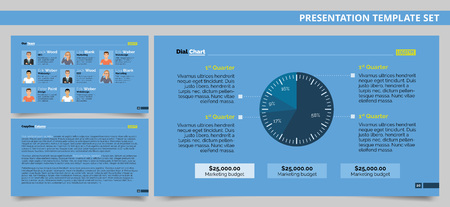 colorful slide: Editable presentation template set representing dial chart, company team members and sample text arrangement page