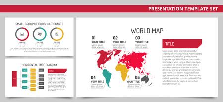 diagrama de arbol: editable plantilla de presentación de conjunto que representan mapa del mundo de diapositivas, grupo de cartas de donuts y diagrama de árbol horizontal