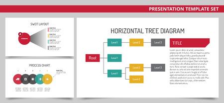 diagrama de arbol: Conjunto de plantillas editables de tres presentación de diapositivas con el diagrama de árbol horizontal, el diseño y el diagrama del proceso de FODA