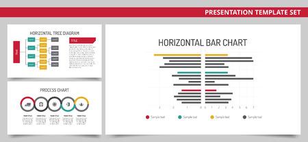 diagrama de arbol: editable plantilla de presentación gráfica establecer barra horizontal, diagrama de árbol y el diagrama del proceso de Vectores
