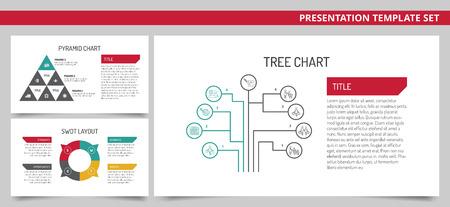 foda: editable plantilla de presentación de conjunto con carta del árbol, carta de la pirámide y el diseño swot