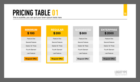 Editable presentation slide representing company pricing table with recommended option Illustration