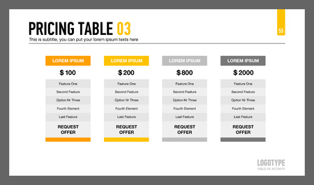 Editable template of presentation slide representing pricing table with four columns