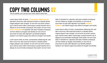 arranged: Editable template of presentation page representing sample text arranged in two columns Illustration