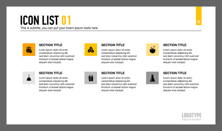representing: Editable template of presentation slide representing six section with icons, titles and sample texts Illustration