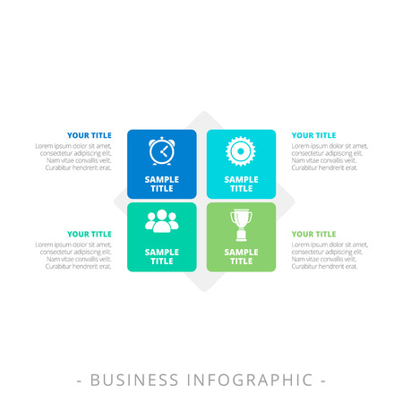 titles: Editable infographic template of diagram with four square blocks, icons, titles and sample text, multicolored version