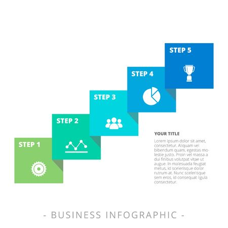 Editable infographic template of five step process diagram with icons, title and sample text, multicolored version Illustration