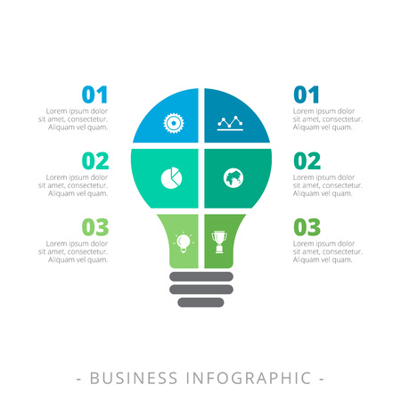 Editable infographic template of three step process chart representing light bulb, multicolored version