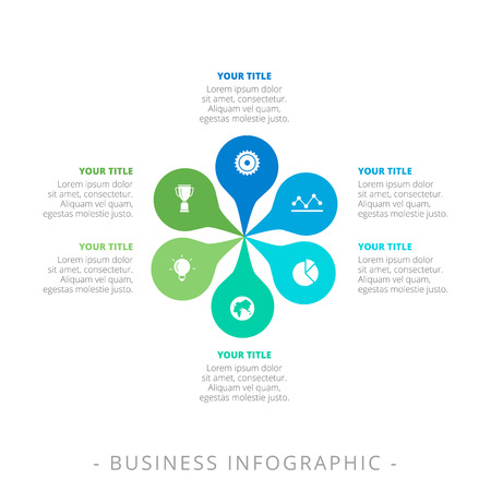 titles: Editable infographic template of petal diagram with icons, titles and sample text, multicolored version