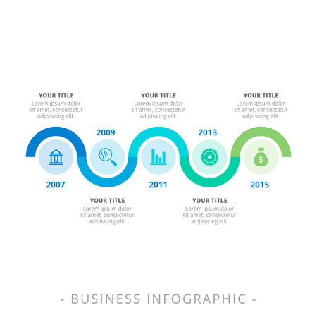titles: Editable infographic template of process chart with icons, titles and sample text, blue and green version