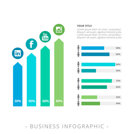 vertical bar: Editable template representing horizontal bar chart with male and female icons and vertical bar chart with social media icons and percent marks