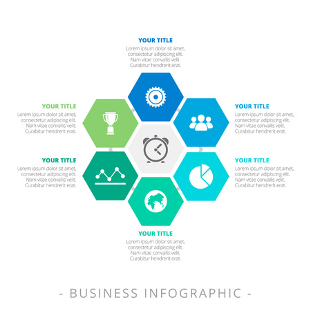 Editable infographic template of hexagon diagram with six icons, titles an sample text, multicolored version