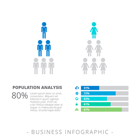 criterion: Editable infographic template representing horizontal bar chart with percent marks and pyramids consisting of male and female icons
