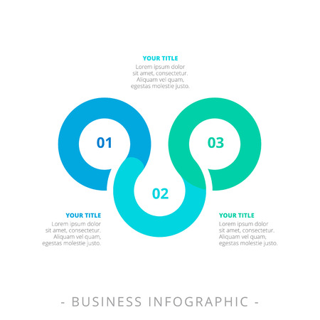 titles: Editable template of three step process chart with titles and sample text, multicolored version Illustration