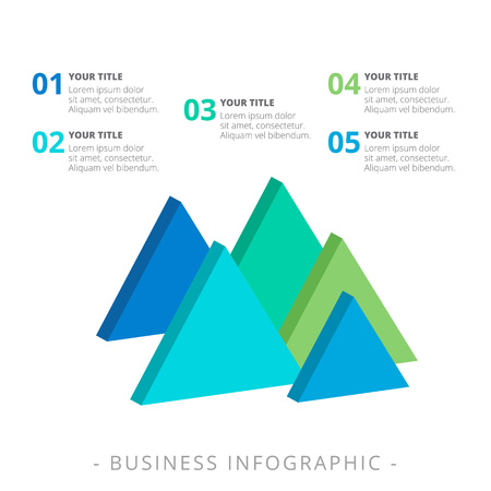 version: Editable template of diagram including five triangles, titles and sample text, multicolored version Illustration