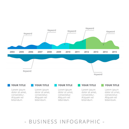 smoothed: Editable template of two-sided mountain data chart with pointers showing annual changes, multicolored version