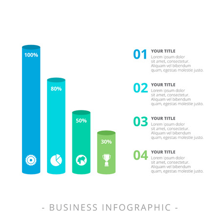 Editable template of vertical bar chart with four 3d bars with icons, titles and sample text, multicolored version