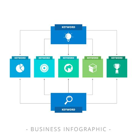 diagrama de arbol: plantilla editable de diagrama de árbol vertical que incluye dos raíces y de una sola planta con iconos y títulos, versión multicolor