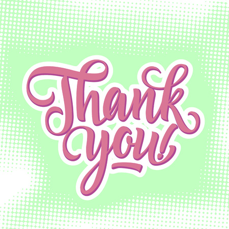 note of exclamation: Thank you inscription with exclamation mark on light green background with dots