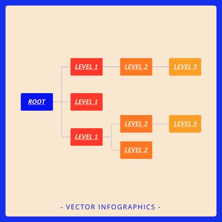 diagrama de arbol: plantilla editable de una simple diagrama de �rbol horizontal que incluye niveles de ra�ces y tres, la versi�n multicolor